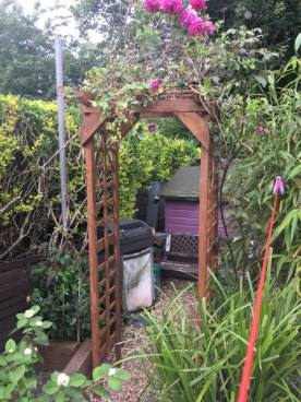 Wooden archway/trellis made from 100% recycled materials