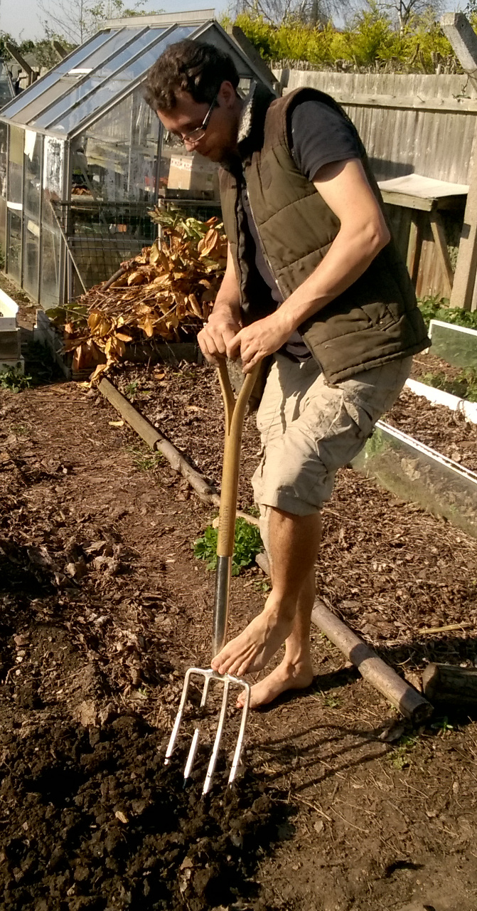 Michael wood doing some barefoot gardening