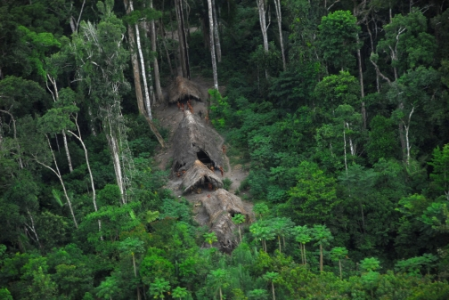 Uncontacted tribe settlement in the Amazon