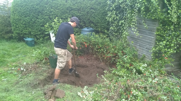 Michael Wood digging Dawns new Wildlife pond